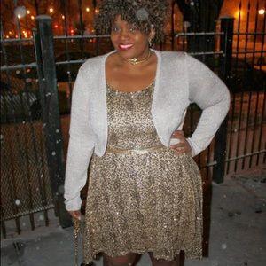 Gold Sequin Sleeveless A Line Dress